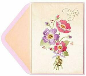 Gorgeous Papyrus Birthday Card  For Wife Embroidered Bouquet PLUS Heart Charms