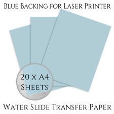 20 Sheet A4 Blue Back Waterslide Transfer Decal Paper Laser Printer Water Print