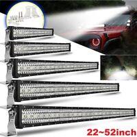 "22/32/42/50/52""inch led light bar Driving Offroad SUV ATV Flood Spot Combo Beam"