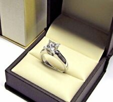 1.00 Ct Princess Cut Solitaire Diamond Engagement Ring 14K White Gold Size L M N