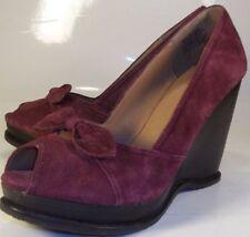Bakers Wos Shoes MARCIE US 8.5 B purple suede Bow Slip-On Wedges Peep Toe Heels