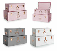 WestWood Storage Trunks Set 2PC Toy Box Chest Suitcase Vintage Lockable 01