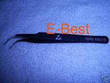 1* Non-magnetic Steel Fine Tip Curved Tweezers Forceps ESD-15