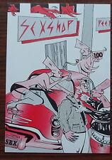 Carte postale Clito Liver,Sexshop,BD ligne claire,1984,Carton editions
