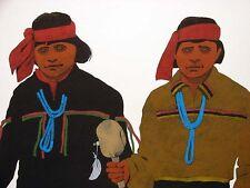 "Louis De Mayo ""Pueblo Dancers"" Original Acrylic Painting on Paper MAKE AN OFFER!"