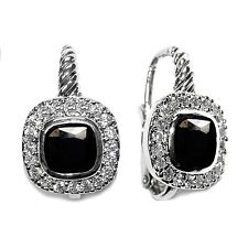 Lever Back Halo Hoop Earring -Bridal Pave Cushion Cut Clear & Black Cz