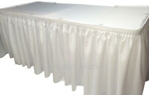 14' WHITE POLYESTER PLEATED TABLE SKIRT skirting  Wedding Trade show Booth