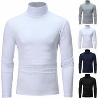 Men Long Sleeve Pullover High Neck Turtleneck Stretch Slim Basic T Shirt Tee XXL