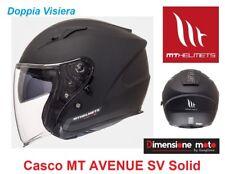 """Casco Jet Doppia Visiera """"MT"""" AVENUE-SV Solid Matt Black Taglia S 55/56 cm"""