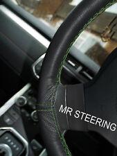 Per Mercedes W211 02-09 vero cuoio Volante Copertura Verde DOPPIA IMPUNTURA
