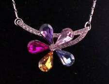 Free Shipping To Usa ~ N245 Platinum Multi-Colored Crystal Flower Necklace ~
