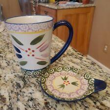 New listing Temp-tations Tara Old World Cobalt Navy Blue 14 oz Coffee Tea Mug With Coaster