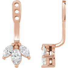 Diamond Cluster Front-Back Earring Jackets In 14K Rose Gold (1/4 ct. tw
