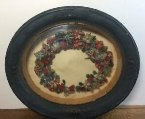 "Large 22"" Antique Victorian Floral Funeral Wreath Deep Shadow Box Frame Mourning"
