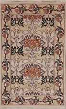 Art & Craft Ivory Oriental Geometric Area Rug Hand-Knotted Home Decor Carpet 4x6
