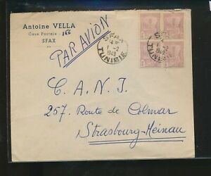 LM85637 Tunisia 1949 air mail to Strasbourg good cover used