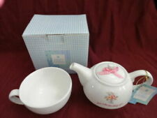 """Holly Hobbie Porcelain 4"""" Tall Teapot With Cup American Greetings 2006"""