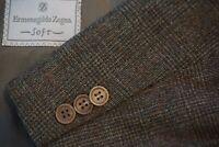 Ermenegildo Zegna Brown Black GlenPlaid Tweed Wool Sport Coat Jacket Sz 44L