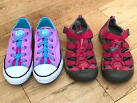 Girls Bundle Of Shoes Size 2 Converse All Star Keen <DD614