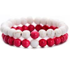 White Red Men&Women Unisex Lover Couple Matching Gift 8MM Bead Promise Bracelets