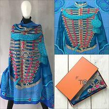 RARE Hermes Brandebourgs Bleu Turquoise Cachemire Soie 140 cm XL châle écharpe étole
