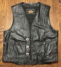 Harley Davidson Leather Vest Mens Large Biker Motorcycle Moto