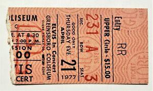 Elvis Presley Original Ticket Stub - April 21, 1977 - Greensboro Coliseum, NC