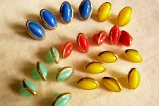 22 vintage (unused) little oval buttons/different colours and 2 sizes 12 & 10mm