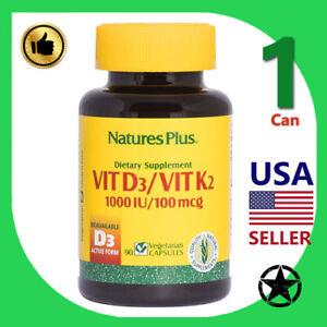 1 Can Natures Plus, Vit D3/Vit K2, 90 Vegetarian Capsules