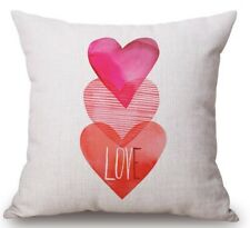 "SHABBY CHIC PINK LOVE HEARTS CUSHION COVER 18"" X 18"" [FREE UK P&P]"