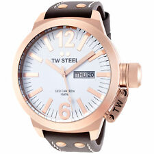 TW Steel CE1018 Men's Canteen 50mm Rose Gold-Tone White Dial Leather Watch