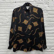Vintage Tess 100% Silk Mandarin Collar Button Up Blouse Women's Size 6