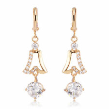 Beautiful New Yellow Gold Filled Round CZ Dangle Drop Earrings