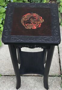 Vintage Carved Chinese Dragon Plant Stand Lamp Table.