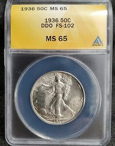 1936 Liberty Walking Half Dollar Doubled Die Obverse ANACS Certified MS65 FS-102