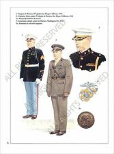 PLANCHE UNIFORMS PRINT WWII US ARMY UNITED STATES MARINE CORPS San Diego