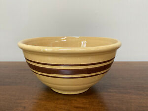 """Vintage Weller Yellow Ware 9"""" Batter Mixing Bowl Brown Bands"""
