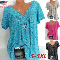 Women Summer Plus Size Short Sleeves V-Neck Print Blouse Pullover Tops T-Shirt