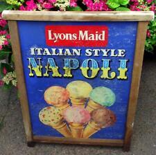 Old Vintage 1960s Lyons Maid Napoli Ice Cream Metal Advertising Sign Beach Hut