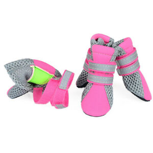 4x Pack GOGO Dog Shoes Boots Sole Nonslip with Reflective Fastening Straps