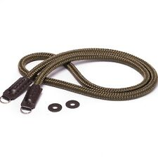 Khaki Green and Brown Leather Rope Cross Body Camera Strap 120cm 1.2m Long