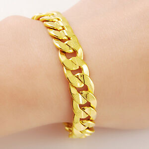 Cool 24K Gold Plated 9MM Full Sideways Strong Men Chain Bracelet 8inch JH049