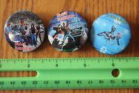 3 Rare Vintage Pin back buttons Iron Maiden Concert tour badge Rock Band