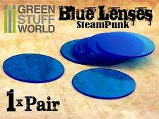 1x pair LENSES for Steampunk Goggles - Color BLUE - Retro Victorian Cosplay