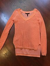 Bcbg Maxazria XS Orange Knit Cotton Sweater