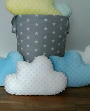 White Cloud Shape Cushion Pillow Nursery Kids Bedroom Grey Stars Child Baby Gift