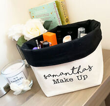 Personalised Canvas Beauty Organiser Printed with ANY NAME Black Inner W572M