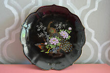 Vintage Japanese Black Plate w/ Gold Peacocks, Purple Flowers, Gold Trim