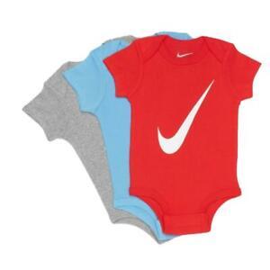 Nike MN0272 LN0272-U10 Tris di Body Bambini Cotone Grigio Azzurro Rosso
