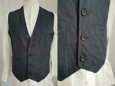 "Mens JC Rags Blue Pinstripe Single Breast Cotton Waistcoat / Vest -40""- LD30"